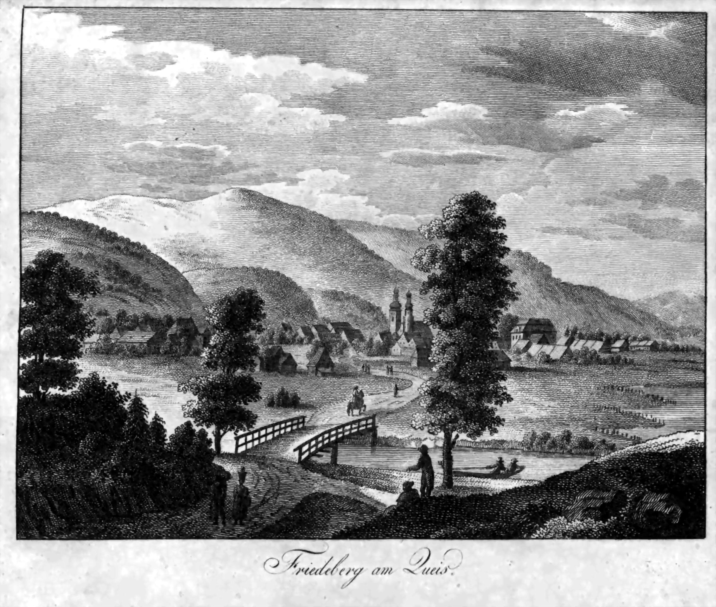 Widok Mirska z Góry Marcowej na przełomie XVIII i XIX wieku