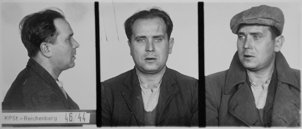 Zdjęcie por. Monscheina po aresztowaniu - gestapo Liberec