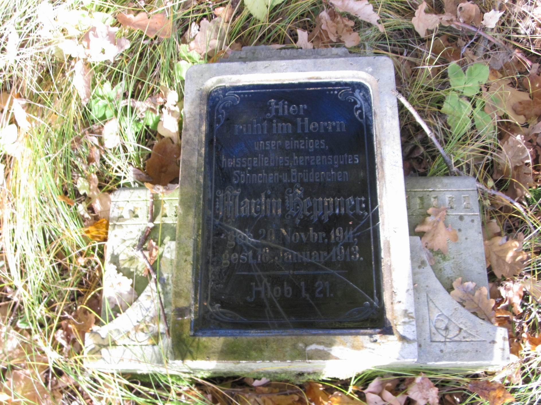Tu spoczywa w Panu nasz jedyny najukochańszy, najserdeczniejszy synek i braciszek Martin Heppnjer ur. 29 listopad 1911 zm. 18 stycznia 1913 Hiob 1.21 Nagi wyszedłem z łona matki mojej i nagi stąd odejdę. Pan dał, Pan wziął, niech będzie imię Pańskie błogosławione.